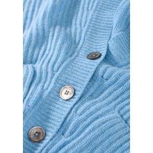 Rippstrick Cardigan mit aufgesetzten Taschen - Ice Melange