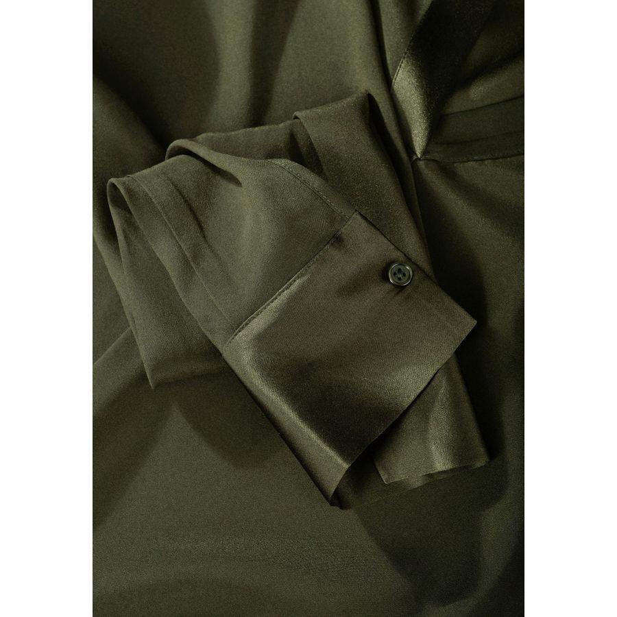 Seiden-Tunika mit verlängerter Rückseite - Khaki