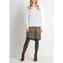 Stehkragen-Pullover mit Zopfmuster