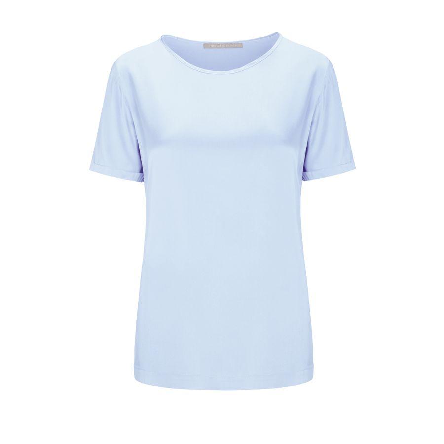 Satinsilk Shirt mit feinem Umschlag am Ärmelsaum - Bleu