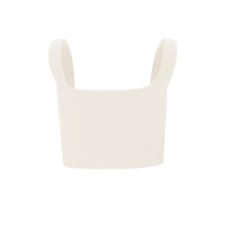 Cropped Top mit breiten Trägern - Ivory