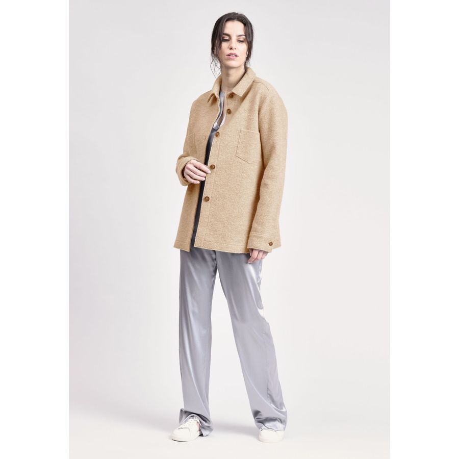 Overshirt aus Boiled Wool - Camel Melange