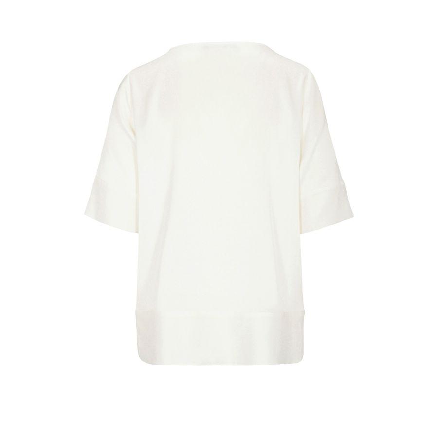 Seiden-Shirt mit breitem Saum - Ivory
