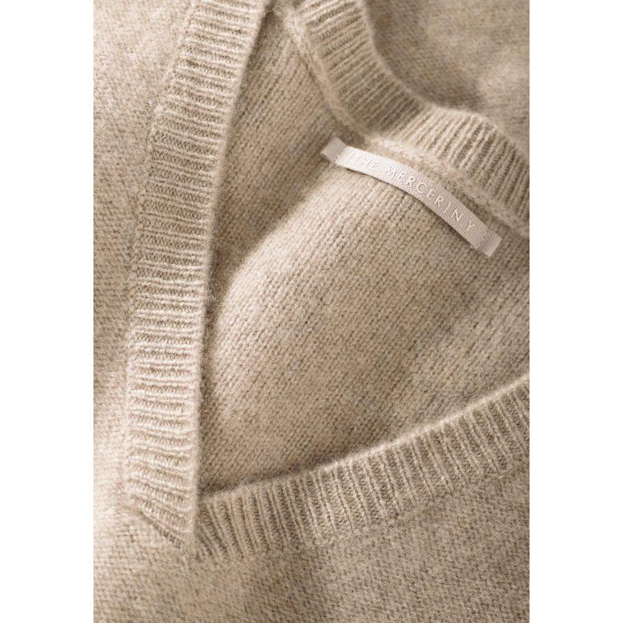 Pullover mit geripptem V-Ausschnitt - Taupe