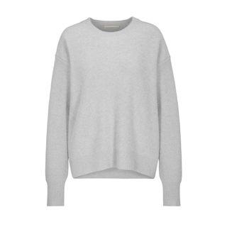 Cashmere-Pullover mit überschnittenen Schultern - Flanell Melange