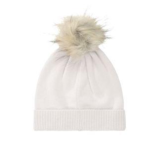 Cashmere Mütze mit Bommel - Beige