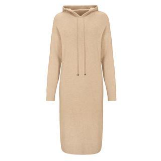 Cashmere-Kleid mit Kapuze - Camel