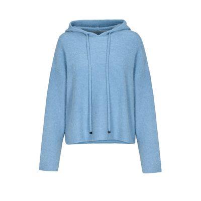 Cashmere Kapuzen-Pullover mit Tunnelzug - Ice Melange
