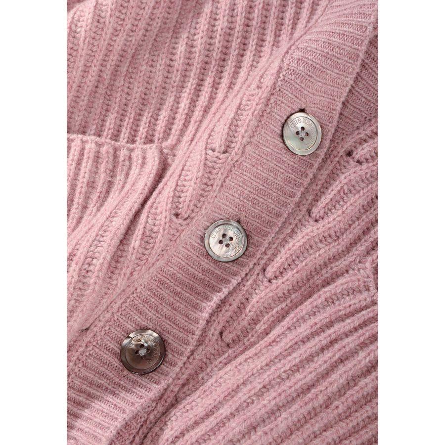 Rippstrick Cardigan mit aufgesetzten Taschen - Dark Rose Melange