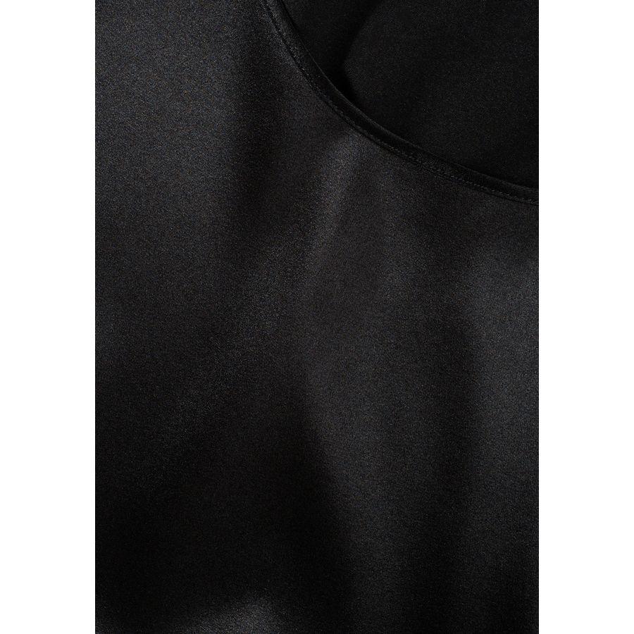 Satinsilk Shirt mit feinem Umschlag am Ärmelsaum - Black