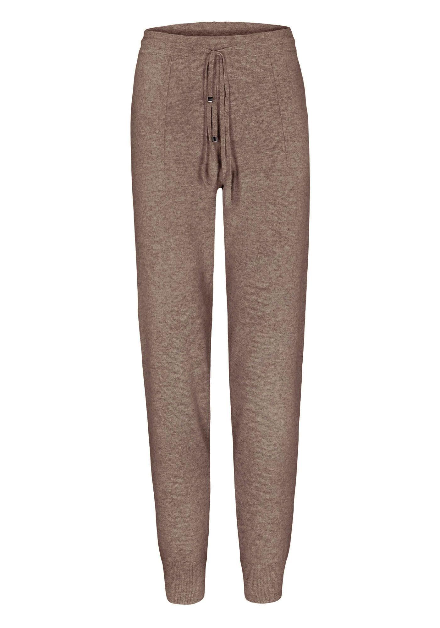 Cashmere Pants mit Tunnelzugbund - Taupe Melange