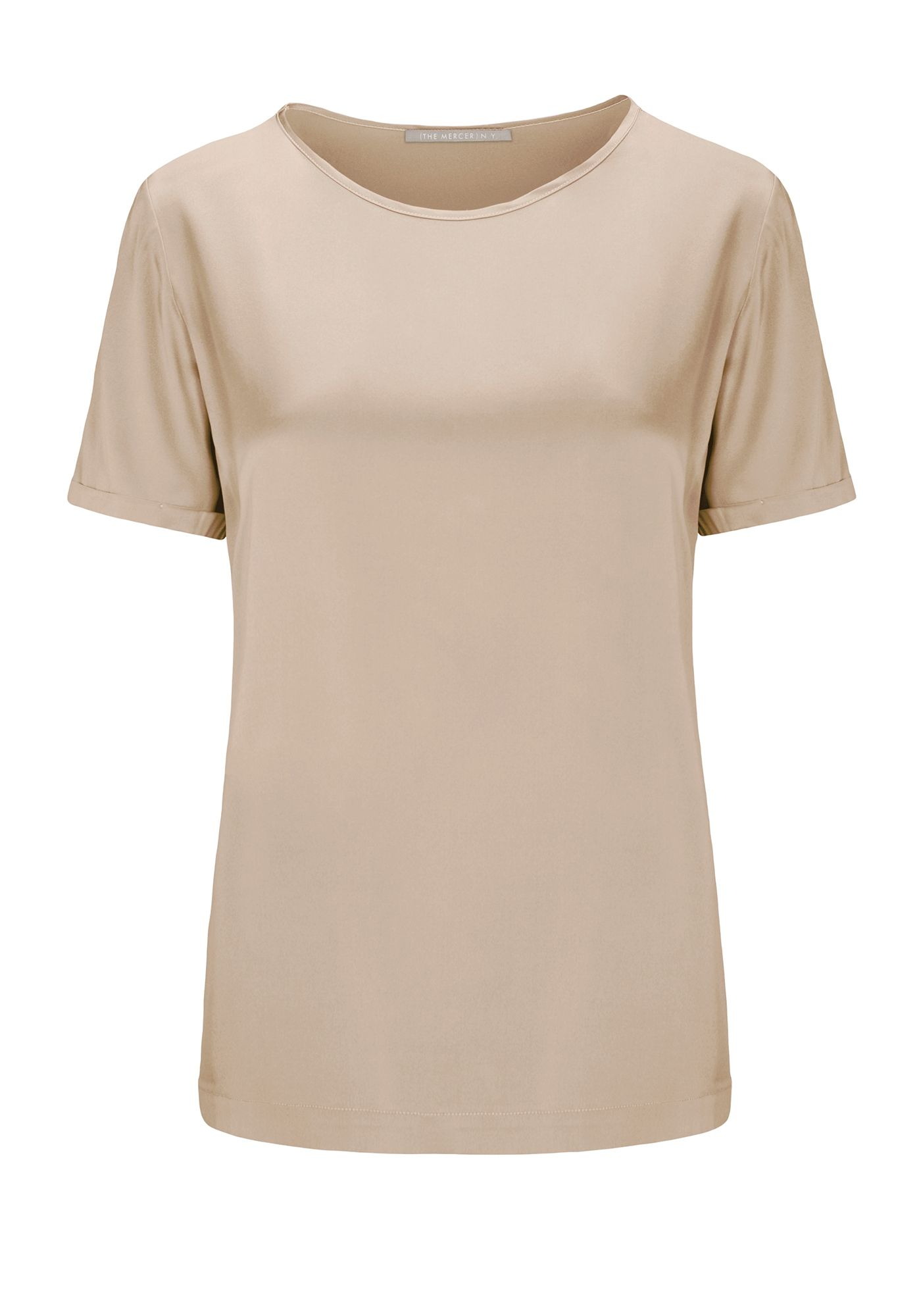 Satinsilk Shirt mit feinem Umschlag am Ärmelsaum - Taupe