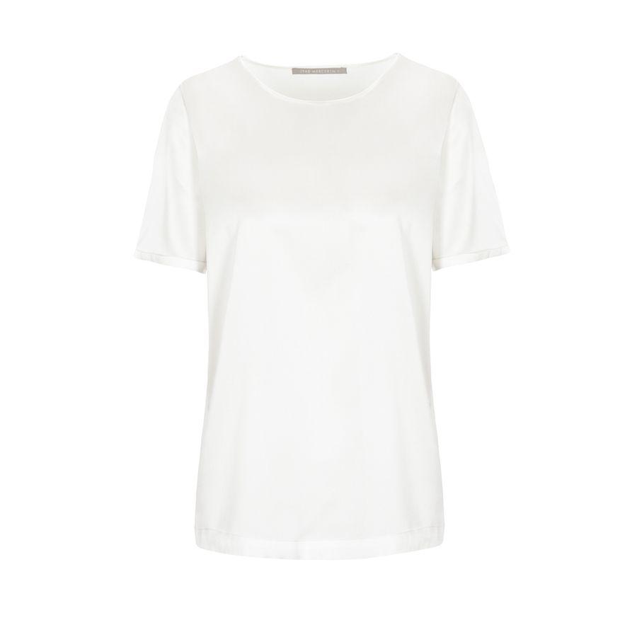 Satinsilk Shirt mit feinem Umschlag am Ärmelsaum - Ivory