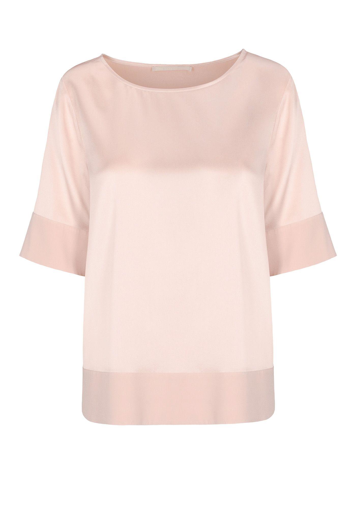 Seiden-Shirt mit breitem Saum - Nude