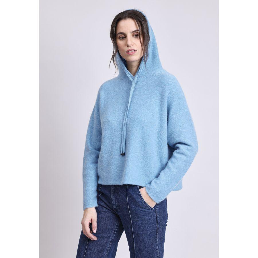 Cashmere Kapuzen-Pullover mit Tunnelzug - Taupe Melange