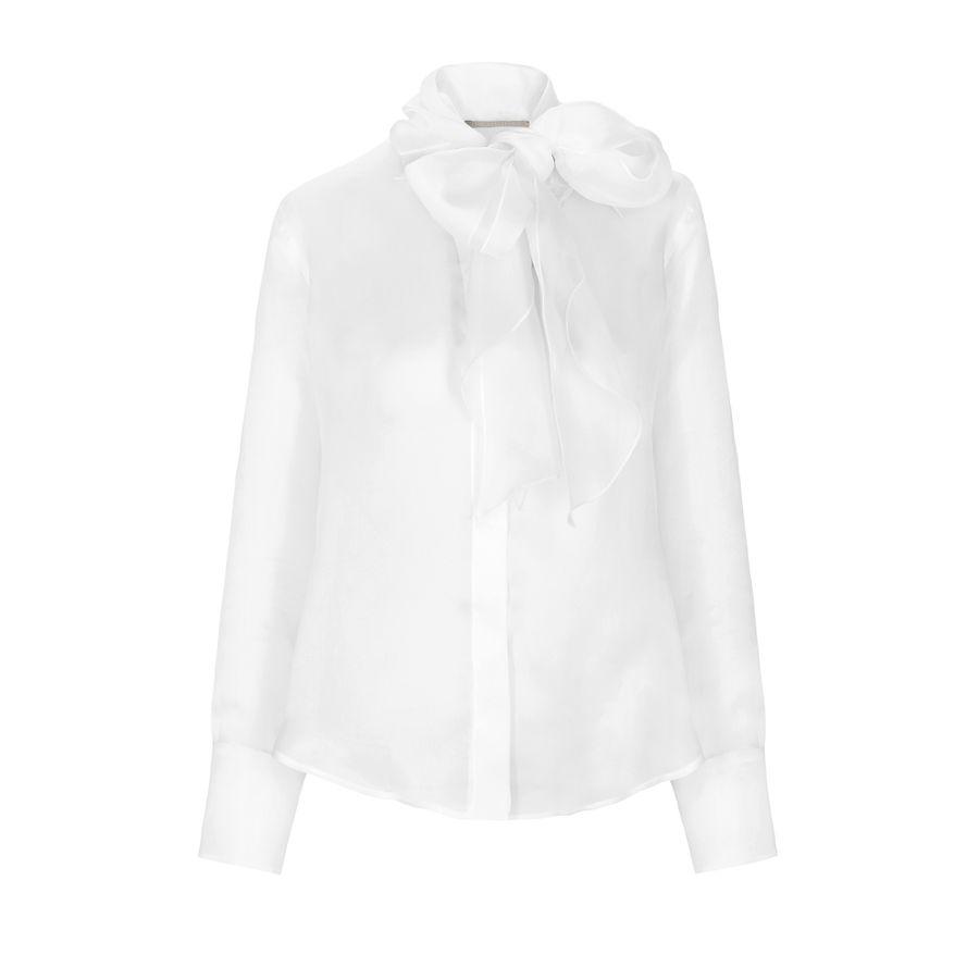 Blusenshirt im semitransparenten Design - weiß