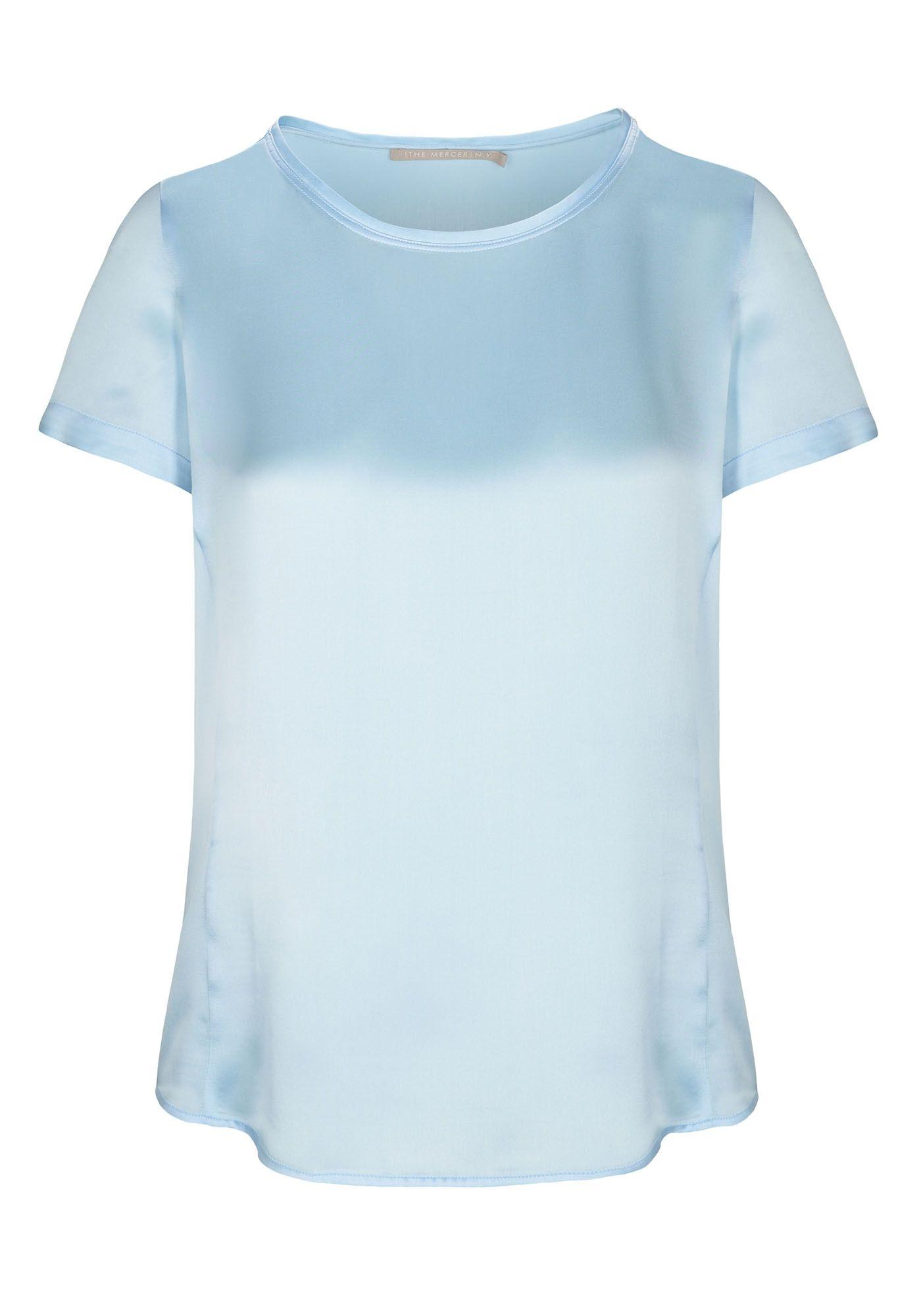 Satin Silk Shirt - Sky