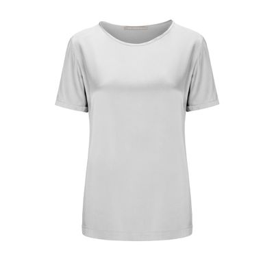 Satinsilk Shirt mit feinem Umschlag am Ärmelsaum - Silver