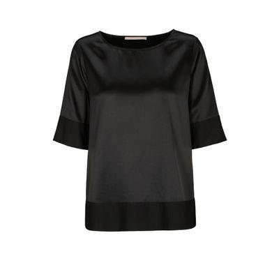 Seiden-Shirt mit breitem Saum - Black