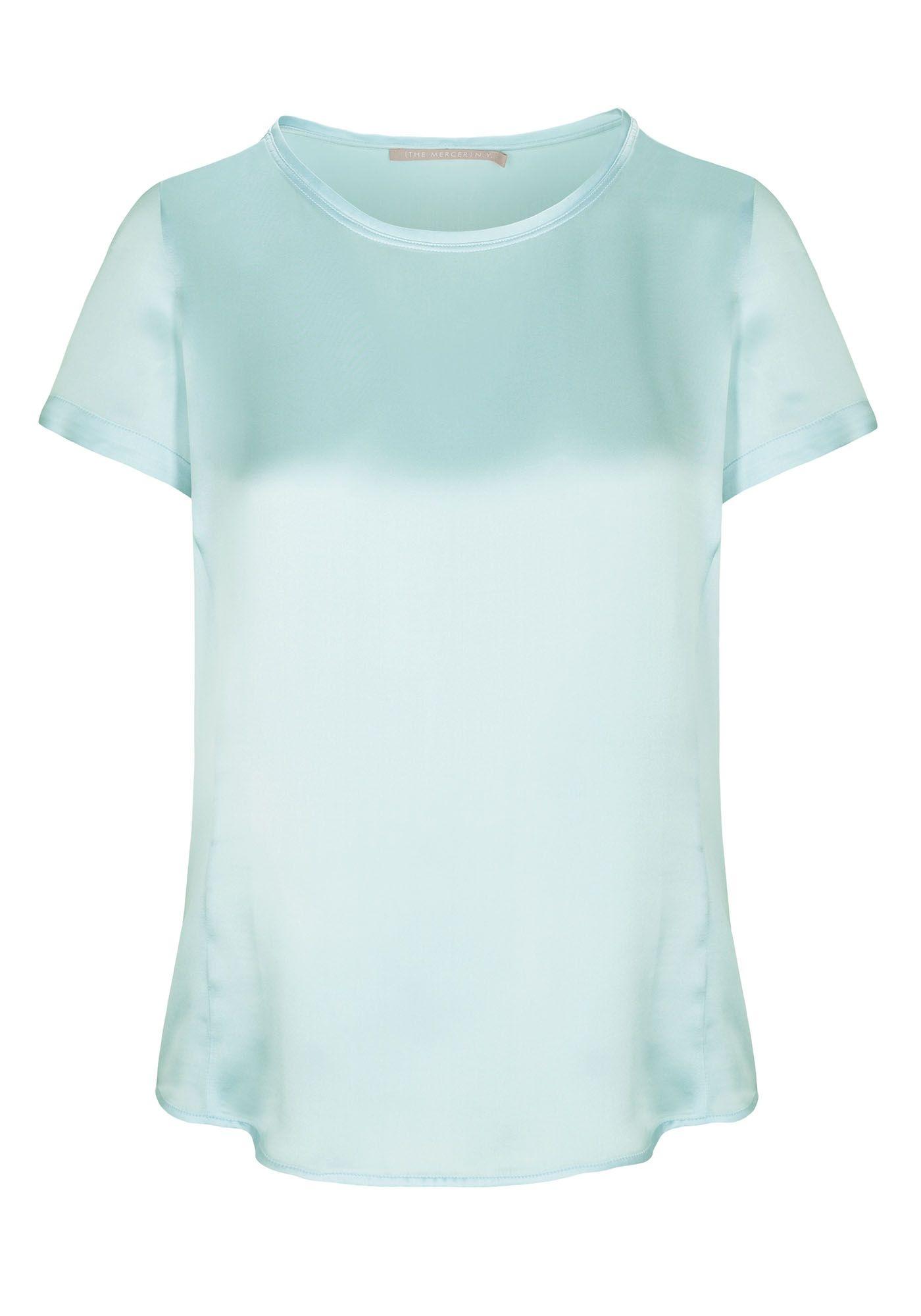Satin Silk Shirt - Ice Blau