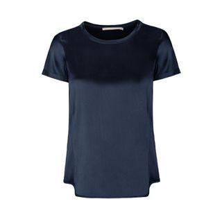 Satin Silk Shirt - Navy