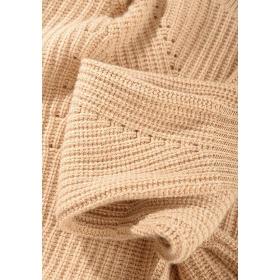 Pullover mit Lochmuster - Camel