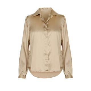 Silk-Blouse mit Hemdblusenkragen - Camel