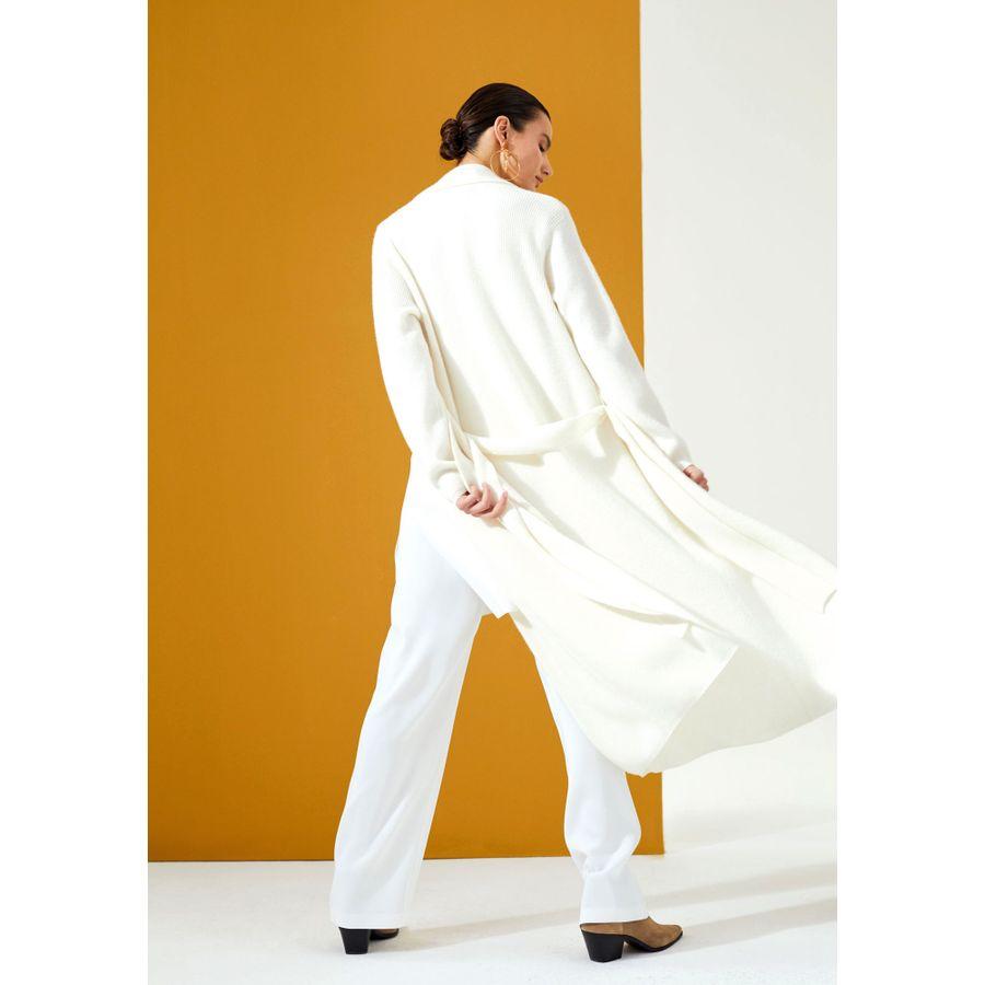 Long Cardigan mit Bindegürtel - Weiss