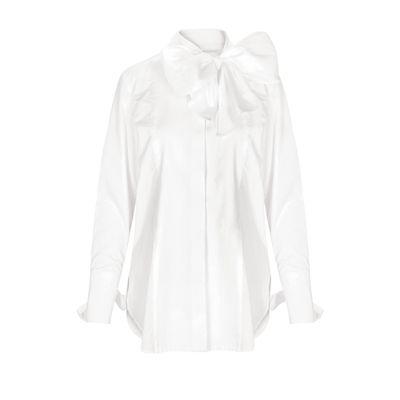 Bluse mit Schluppe - White