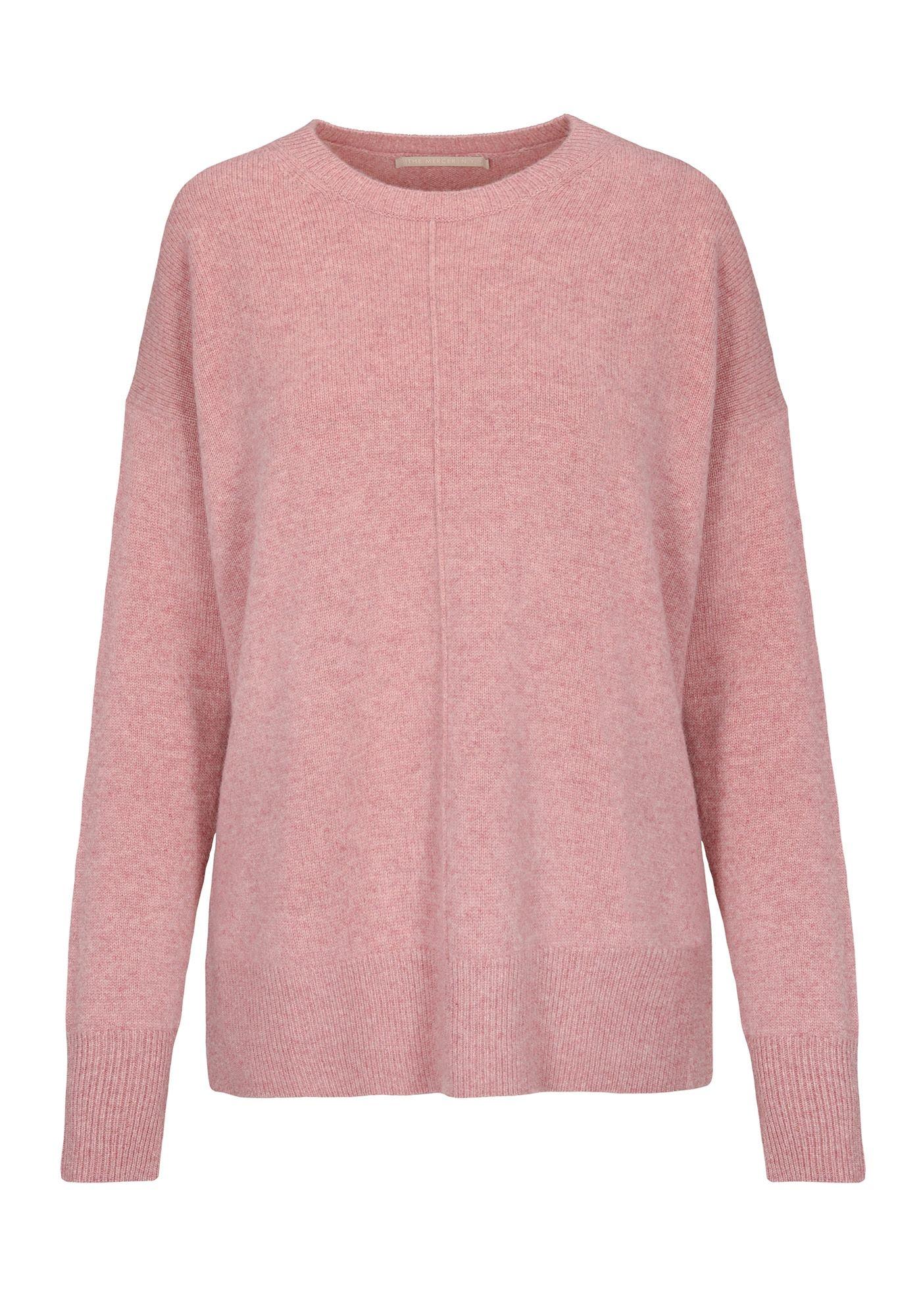 Cashmere Pullover mit Seitenschlitzen - Dark Rose Melange